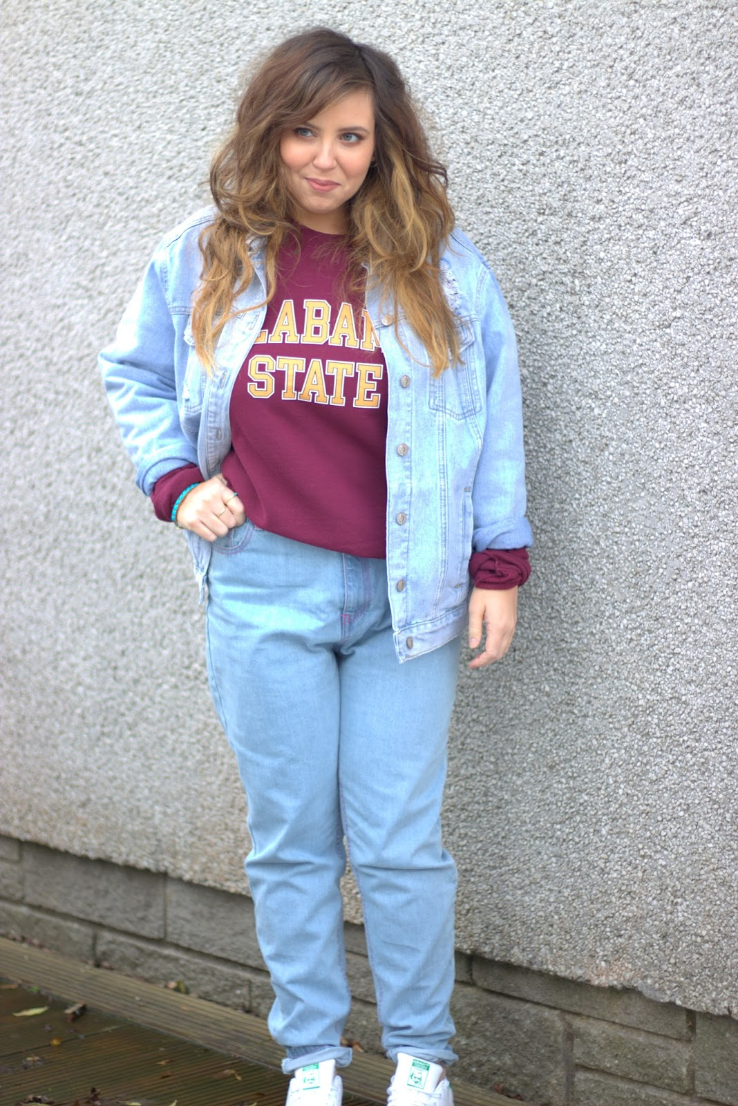 outfit post, mom jeans, missguided sweater, new look denim jacket