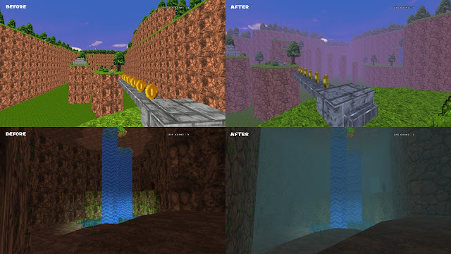 Doom - The Golden Souls 2 - before and after pictures of the revamped water cave map