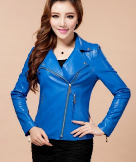 Gambar Jaket Kulit Wanita Biru