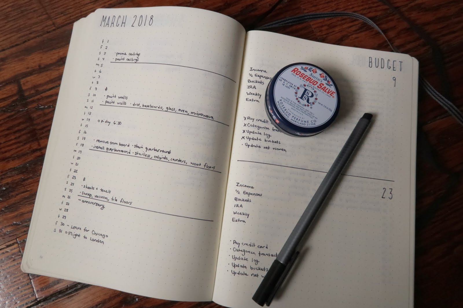 bullet journal monthly overview month layout spread budget rosebud salve ben minimal black and white