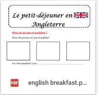 breakfast petit déjeuner anglais ce1 ce2 cm1