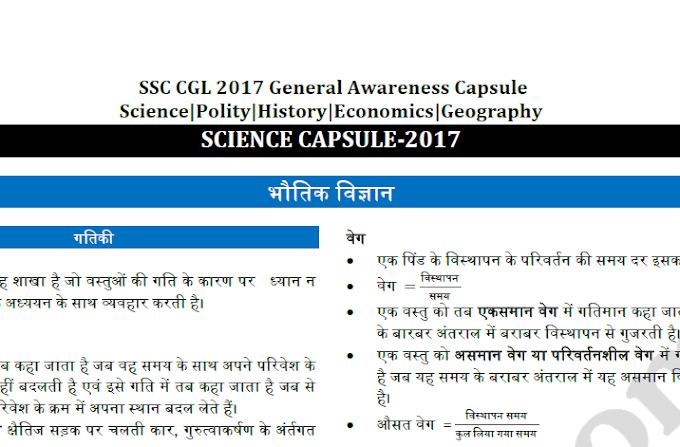 GENERAL AWARENESS CAPSULE FOR SSC CGL 2017-English and Hindi