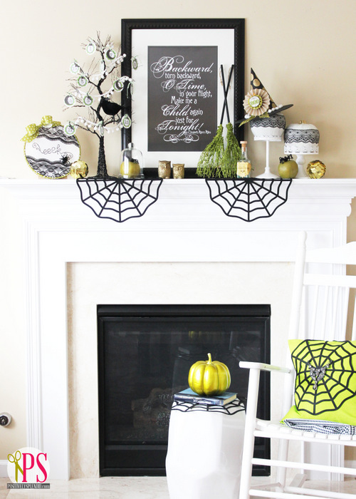 Love the pops of fun color!  Halloween Mantel Ideas by Positively Splendid