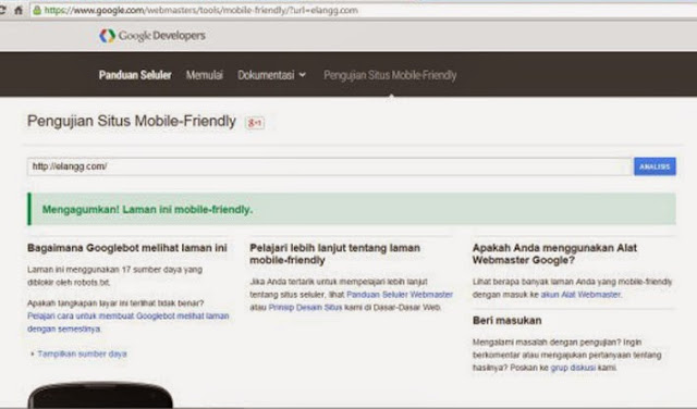 cara tes mobile friendly blog