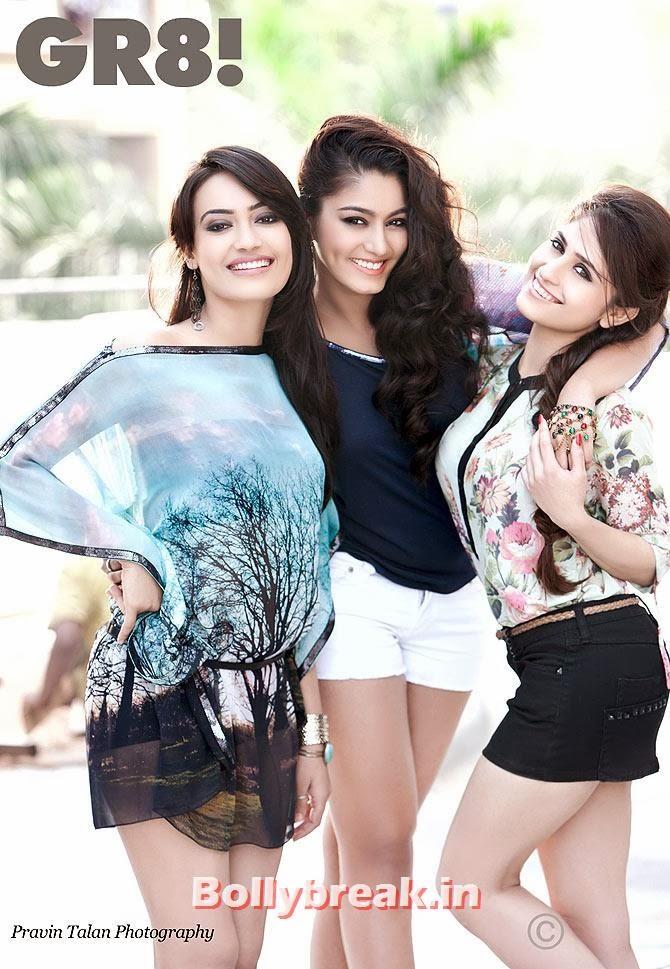 Surbhi Jyoti, Sana Khan, Hunar Hali,  Surbhi, Sana & Hunar on GR8 Magazine Cover - Hot Indian Tv Actresses