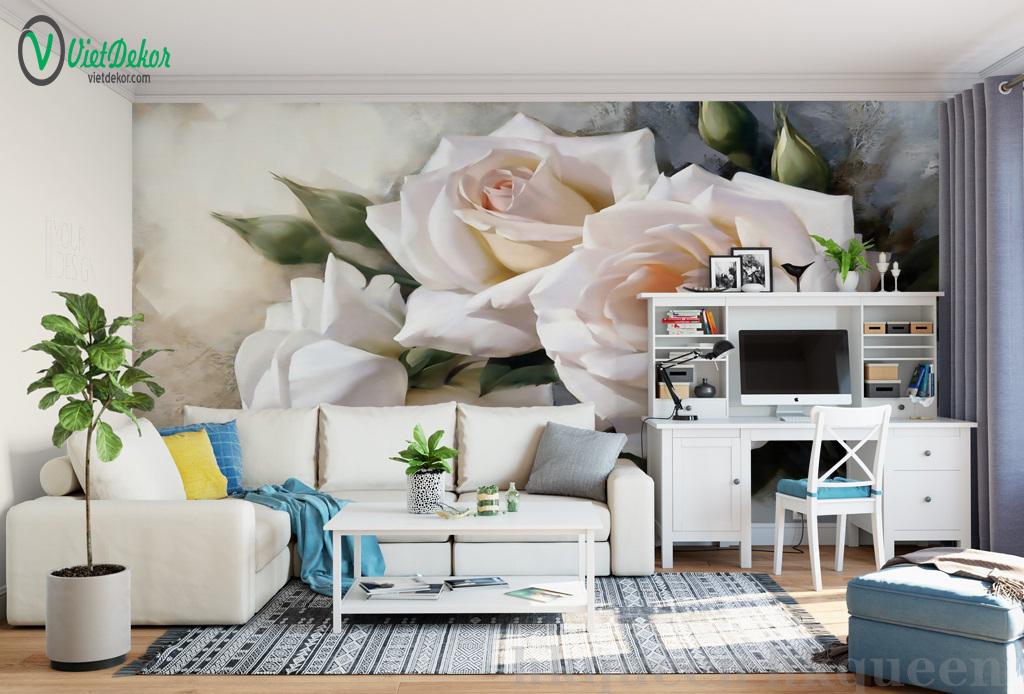 Tranh dán tường 3d hoa hồng phòng ngủ phòng khách đẹp