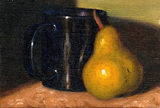 Oil painting of a green pear beside a shiny blue coffee mug.