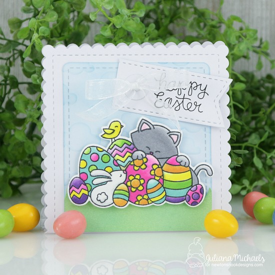 Easter Treat Bag by Juliana Michaels | Newton's Easter Basket Stamp Set and Frames & Flags Die Set by Newton's Nook Designs #newtonsnook #handmade