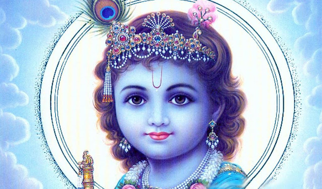 Best God Krishna Face HD Wallpaper In White Background
