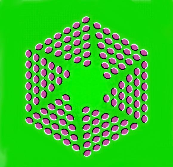 Yeşil bir arkaplandaki mor oval şekillerden oluşan altıgen şekil genişliyor gibi görünüyor