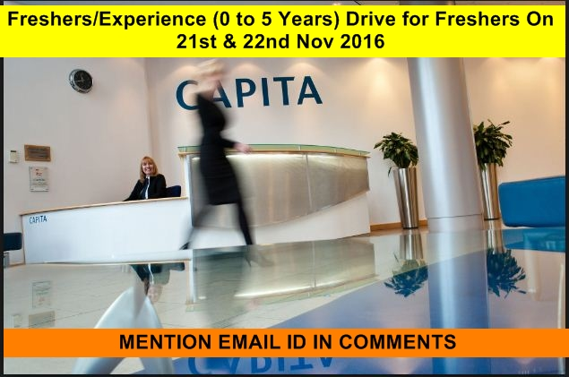 Capita India Freshers Experience 0 To 5 Years Drive For