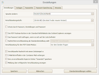 PDF Postman's settings menu in German language.