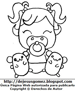 Dibujo de una bebé mujer para colorear pintar e imprimir. Dibujo de una bebé de Jesus Gómez