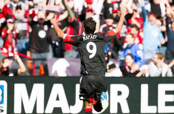 D.C. United player Rafael celebrates after scoring the equalizer against Columbus Crew