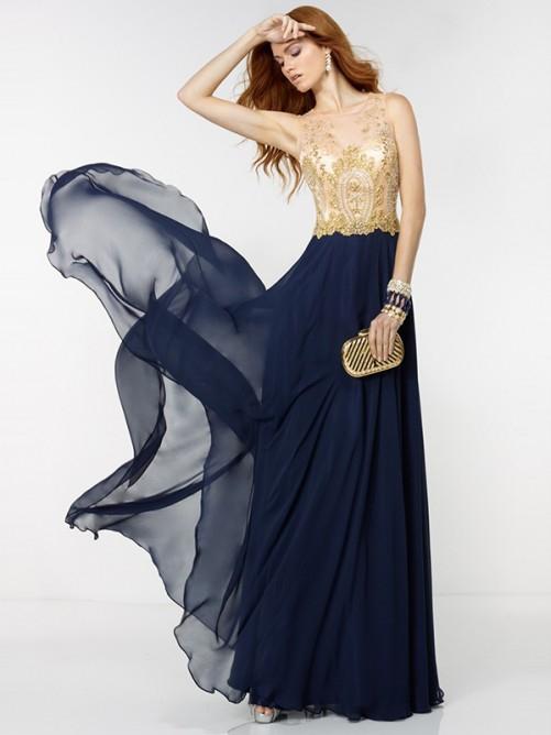 2016 A Line Dark Navy Chiffon Beaded Floor Length Cheap Prom Dress