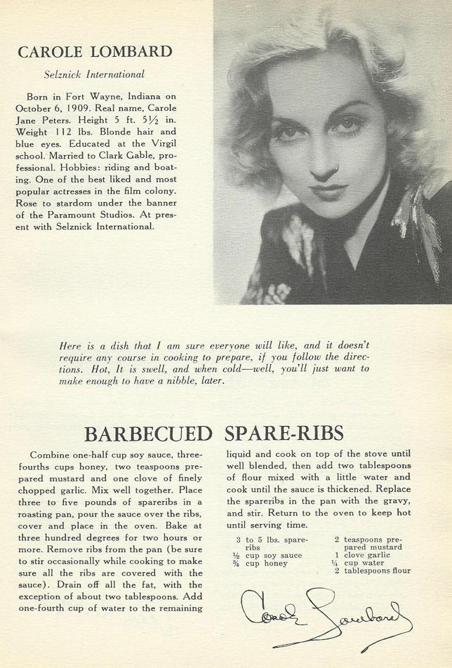 Bill S Blog Carole Lombard Barbecue Spare Ribs And