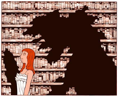 図書館の中の女性と怪物の影