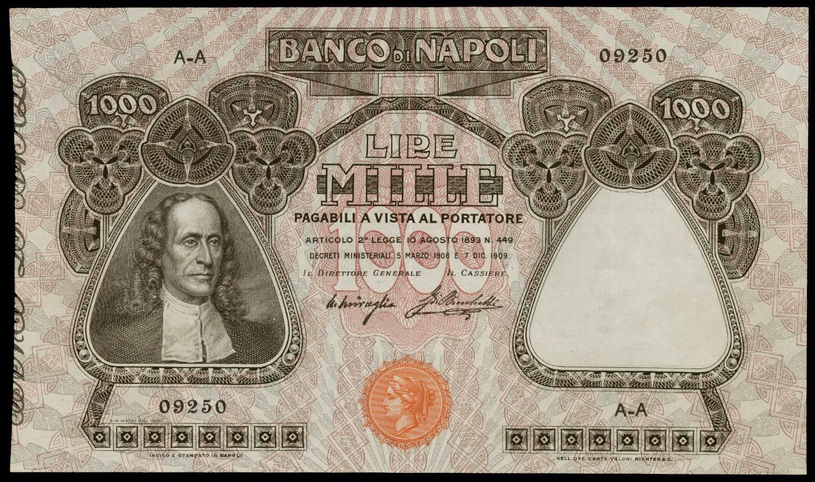 Italy 1000 Lire banknote Banco di Napoli