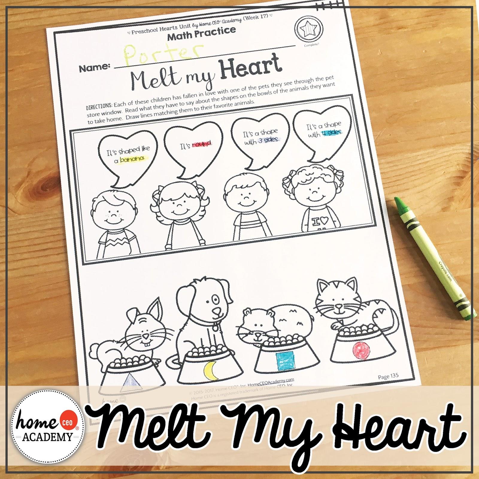 Preschool Homeschool Heart Unit
