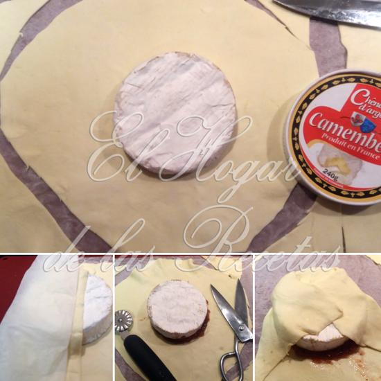 Recortamos el hojaldre con forma circular, para poder forrar el queso Cambembert. Entre el hojaldre y el queso ponemos mermelada de higo