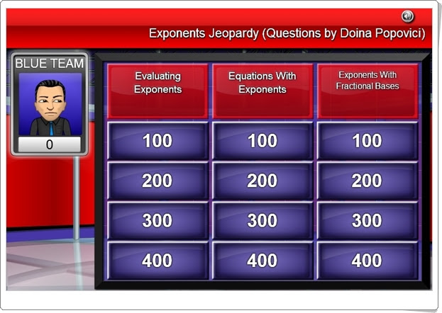 EXPONENTS JEOPARDY GAME (Juego de Potencias de Secundaria)
