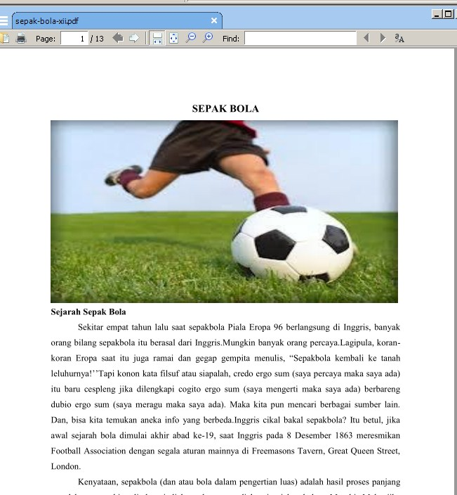 Makalah Tentang Sepak Bola Contoh Makalah