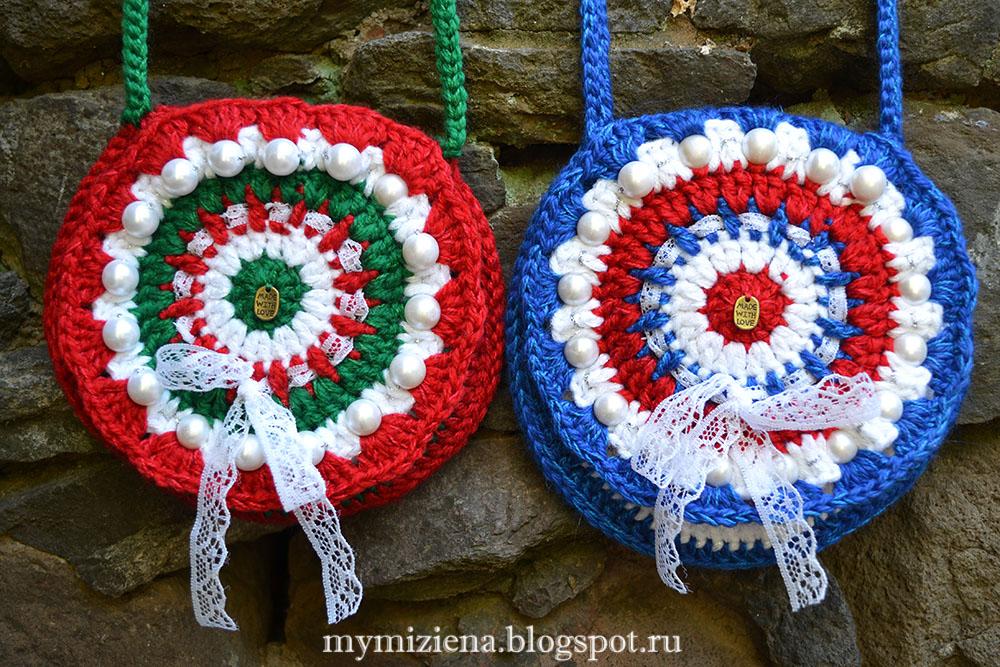 вязаные сумки в цветах национальных флагов