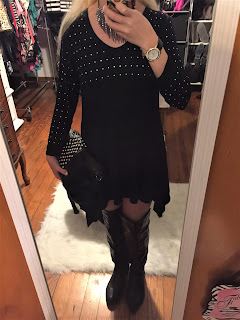 studded black sharkbite dress ootd