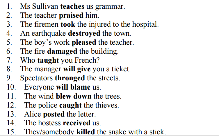 ... first exercise you have to change the 15 sentences into passive voice
