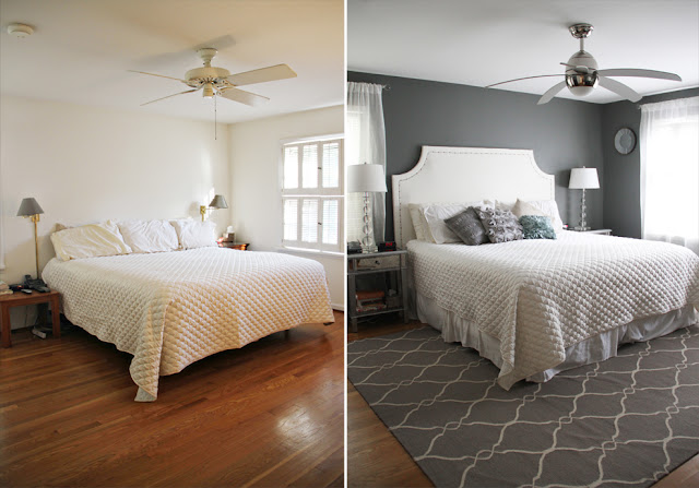 Before & After Grey Metallic Bedroom Makeover