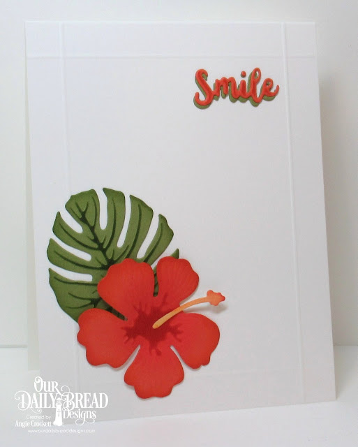 ODBD Custom Inspiration Words Dies, ODBD Custom Hibisucus Dies, ODBD Custom Tropical Leaves Dies, Card Designer Angie Crockett
