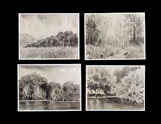 Experimenting with water soluble graphite sticks to create landscape study works, By Manju Panchal