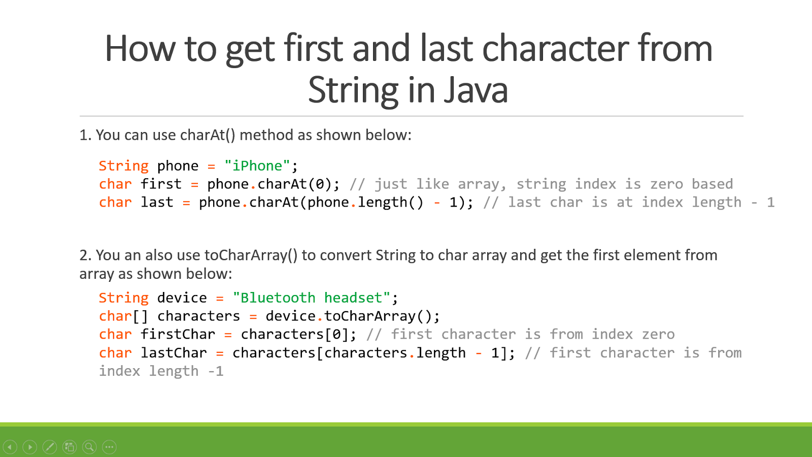 java string template - how to get first and last character of string in java
