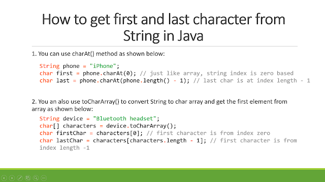 How to get first and last character from String in Java