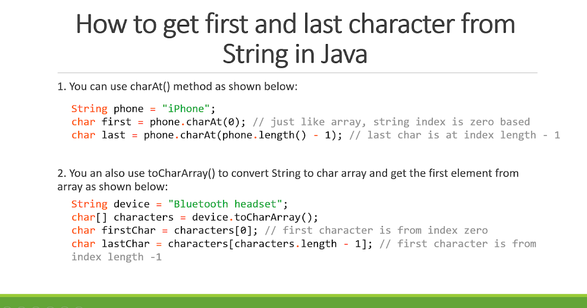 How To Get First And Last Character Of String In Java Example