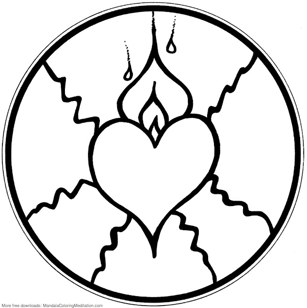 Printable Children Coloring Page Fire Heart Mandala  By Mandala Coloring  Pages