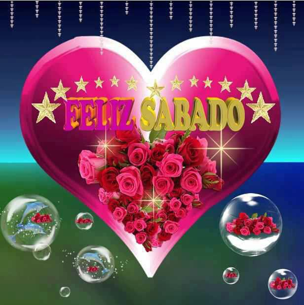 corazón con estrellas y rosas Feliz Sabado