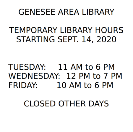 Genesee Library Temporary Hours