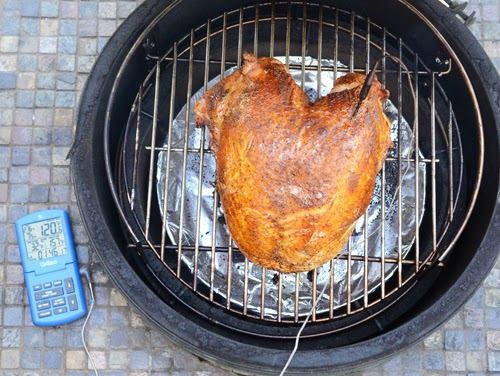 Turkey breast on the big green egg, roast turkey on BGE, ChefAlarm