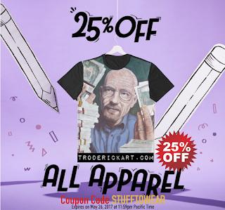 25% off apparel coupon code stufftowear troderickart.com