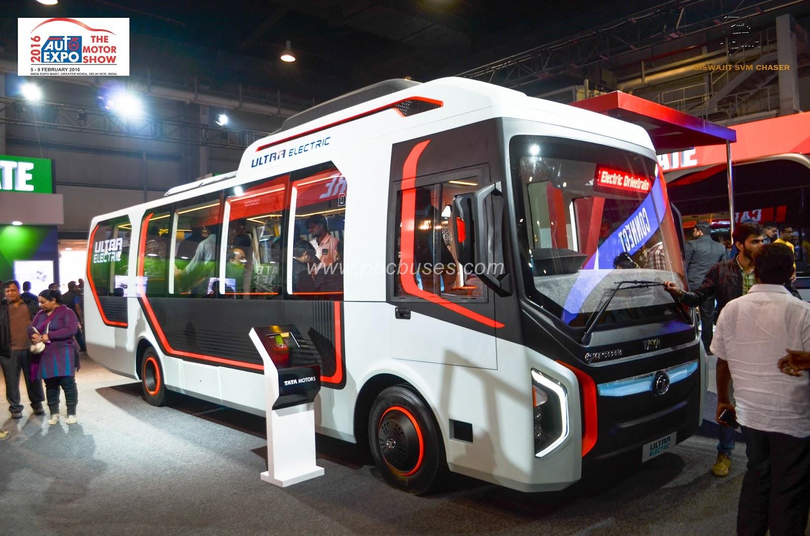 Tata Ultra Electric Bus At Auto Expo 2016 Delhi Biswajit