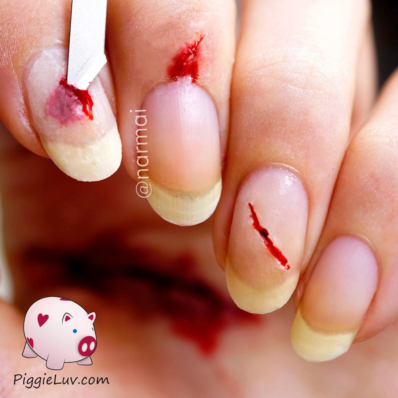 PiggieLuv: Bloody razor cuts nail art for Halloween