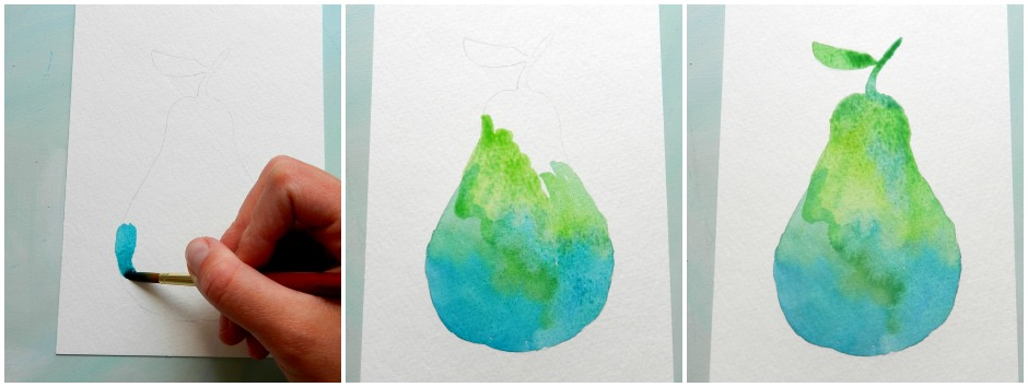 how to paint a pear in watercolor: Grow Creative
