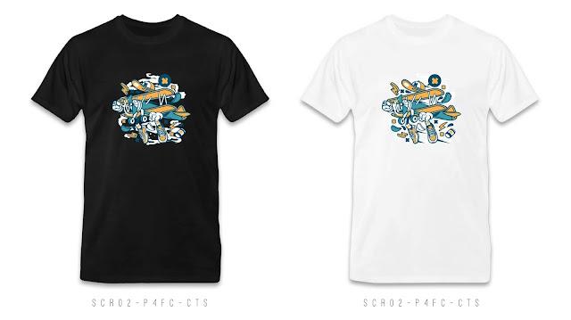 SCR02-P4FC-CTS Cartoon T Shirt Design, Custom T Shirt Printing