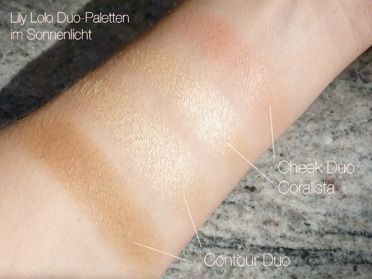 Swatch im Sonnenlicht: Lily Lolo Cheek Duo Coralista + Lily Lolo Contour Duo