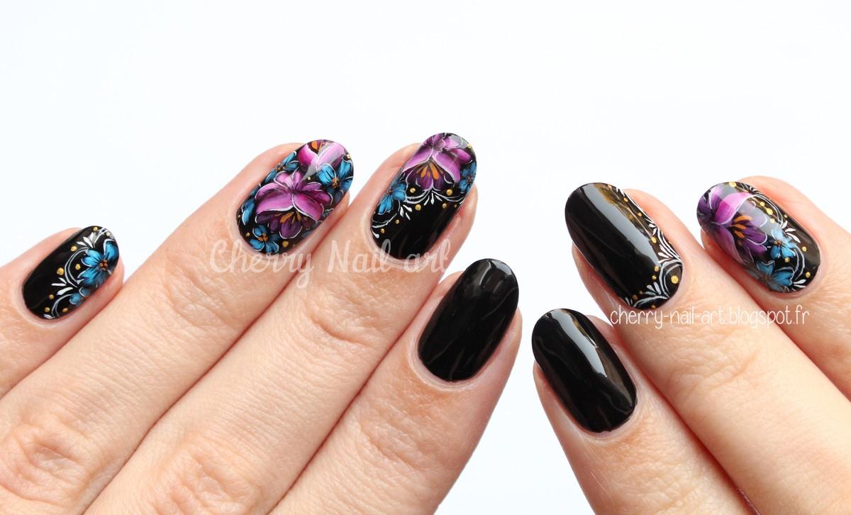 nail art fleurs zhostovo