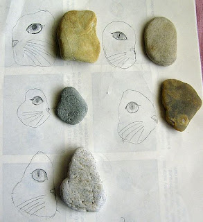 cats, stones, unpainted, rocks, design, sketch, idea