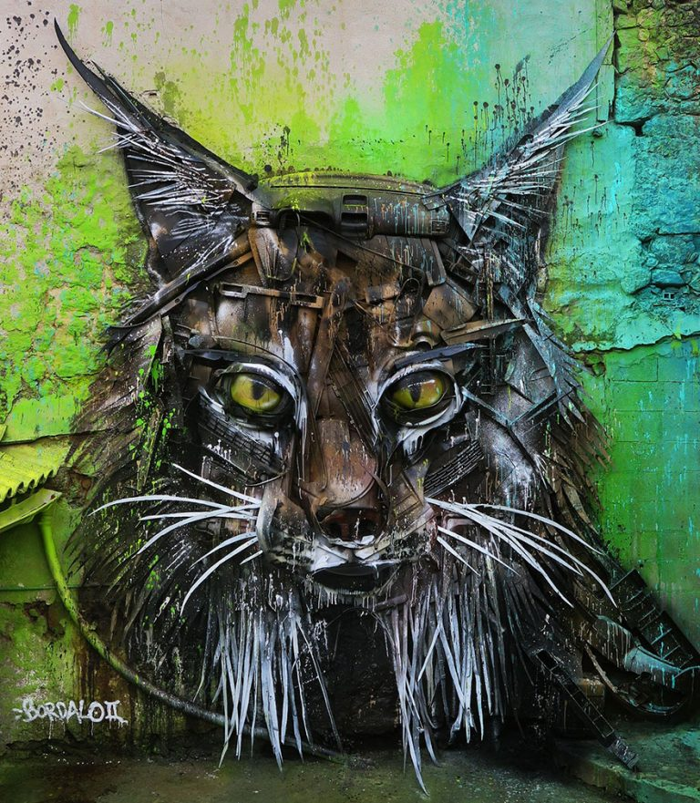 Street Artist Transforms Ordinary Junk Into Animals To Remind About Pollution - Lynx
