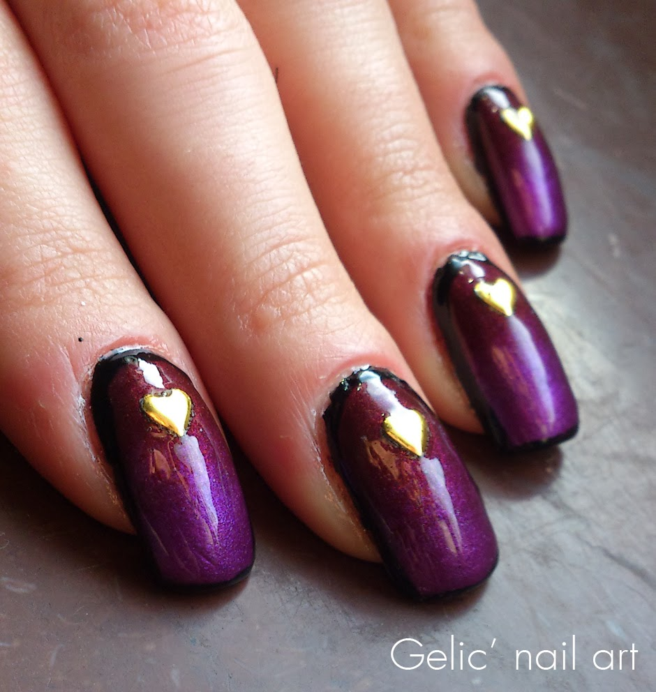 Heart Nail Art: Gelic' Nail Art: Heart Metal Studs On Gradient