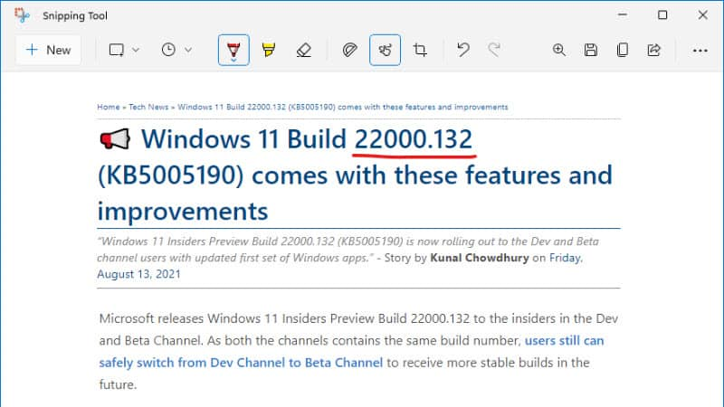 The new Snipping Tool design of Windows 11
